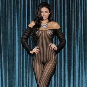 Striped off shoulder body stocking